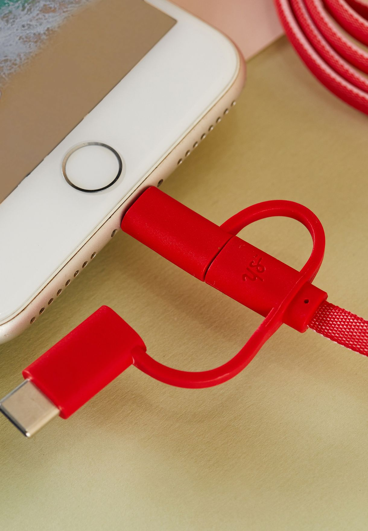 Pink & Red USB Charging Cable