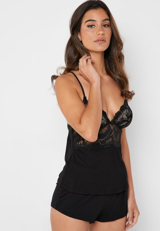 Lace Detail Cami Pyjama Set