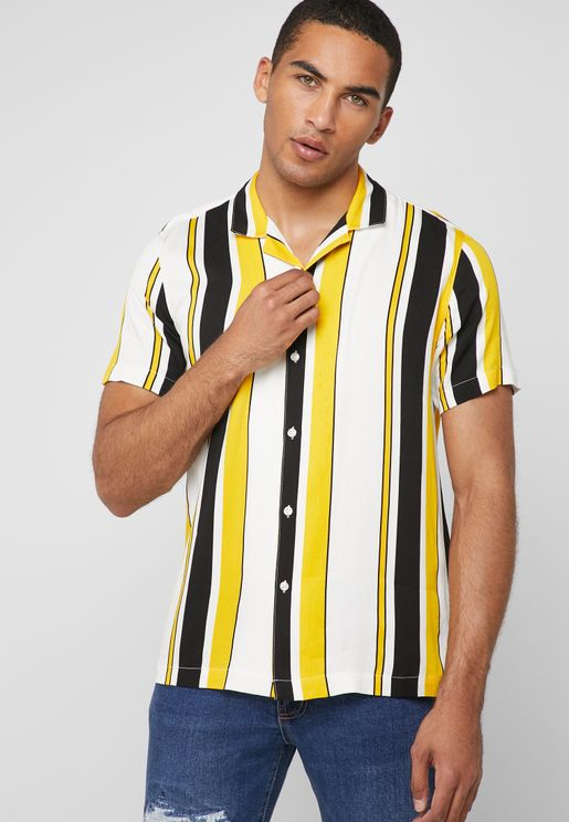 Striped Cuban Collar Shirt