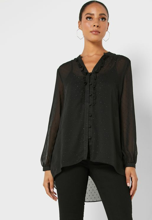 Ruffle Detail Sheer Sleeve Top