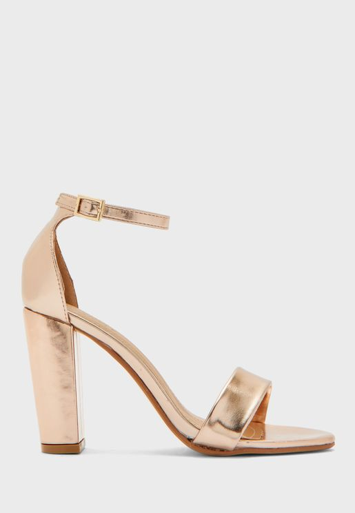 Round Toe Block Heel Ankle Strap Sandal