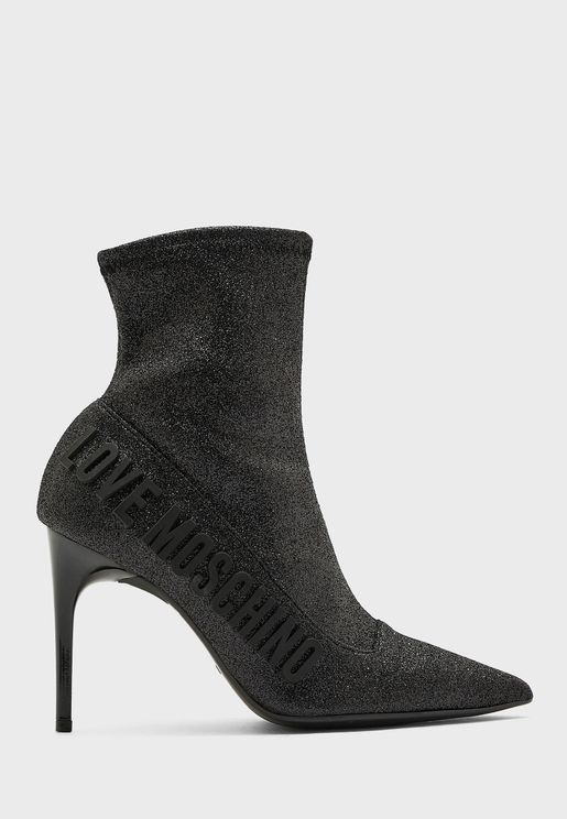 Logo Printed High Heel Ankle Boot