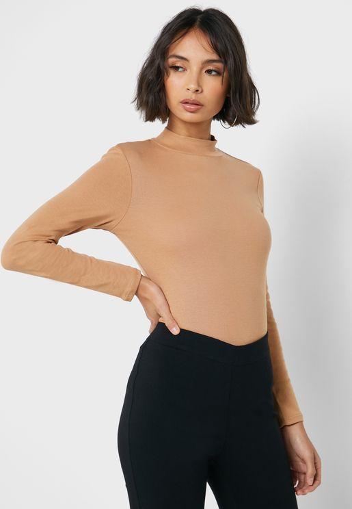 Funnel Neck Longline Top