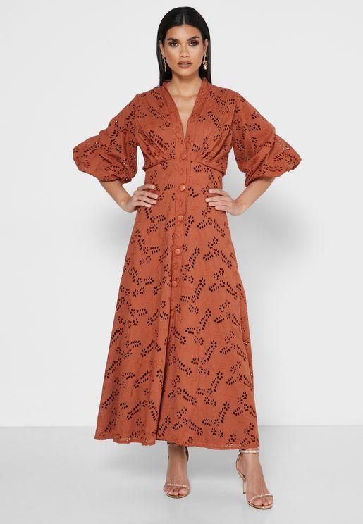 Schiffli Button Through Dress