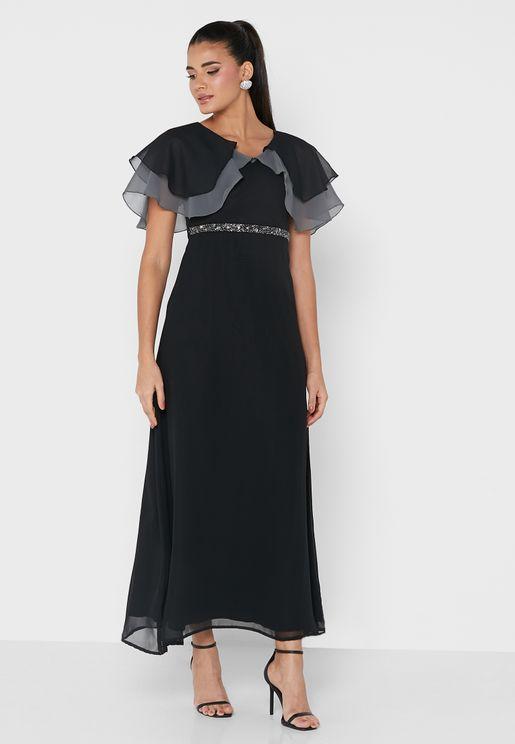 فستان ماكسي بياقة V