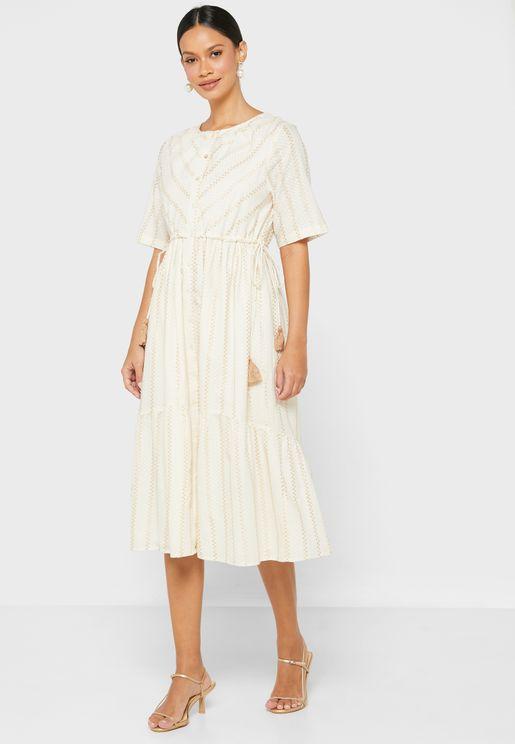 Waist Tie Detail Midi Dress