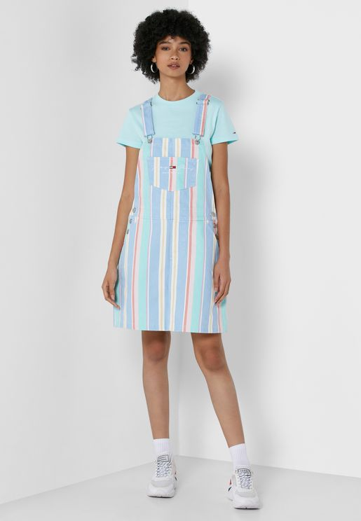 Striped Dungaree Dress