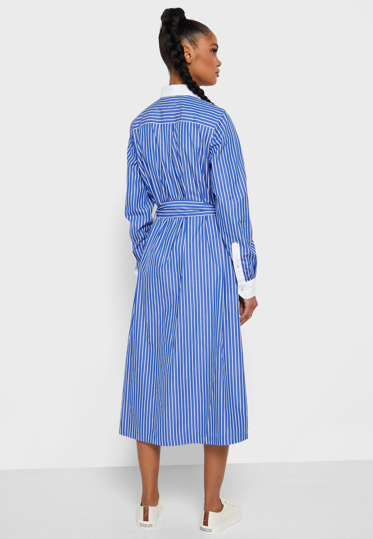 Contrast Trim Striped Shirt Dress
