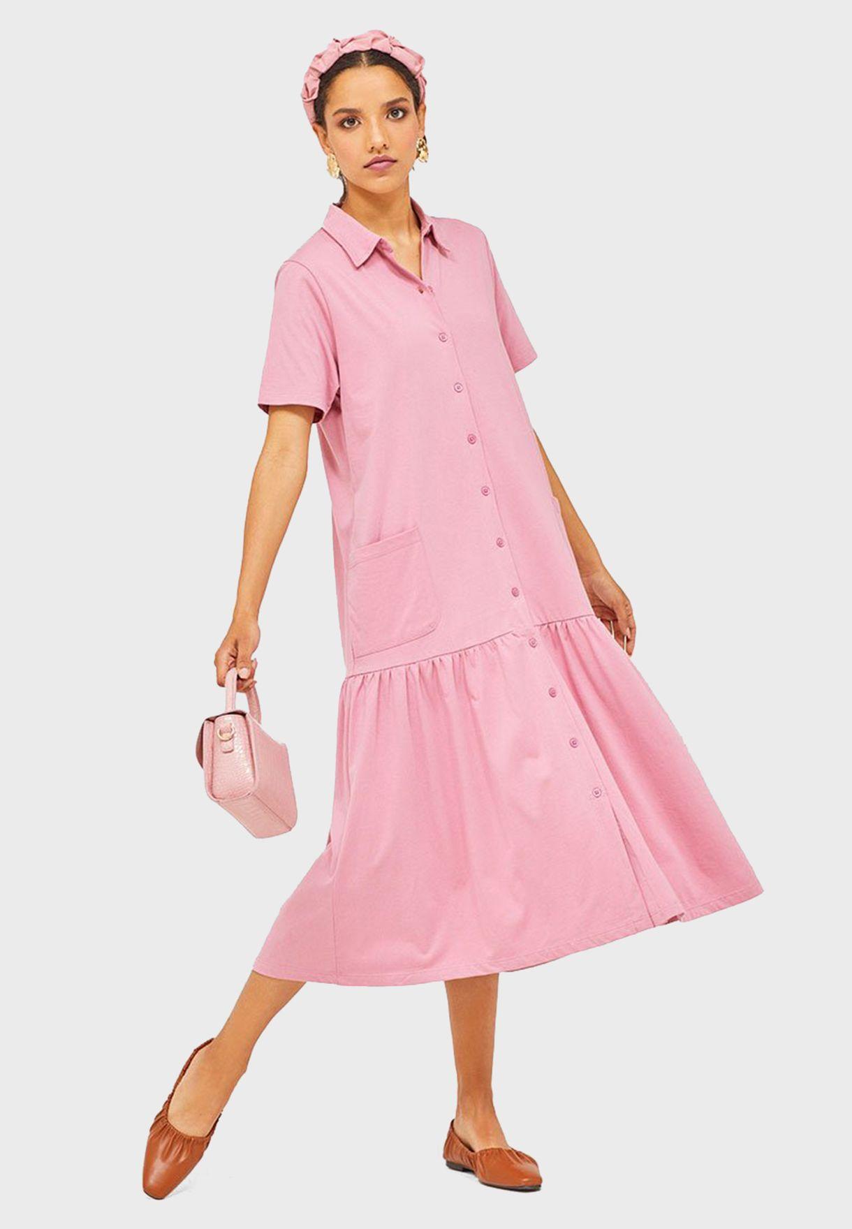 Pleated Polo Dress