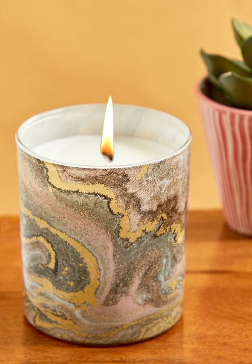 Marble Printed Jar Candle