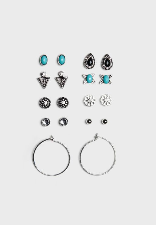 Multipack Stone Detail Earrings