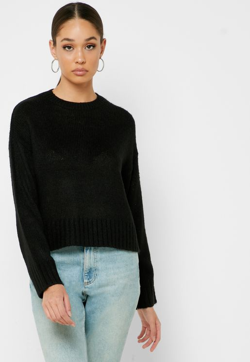 Ribbed Trim Boxy Sweater
