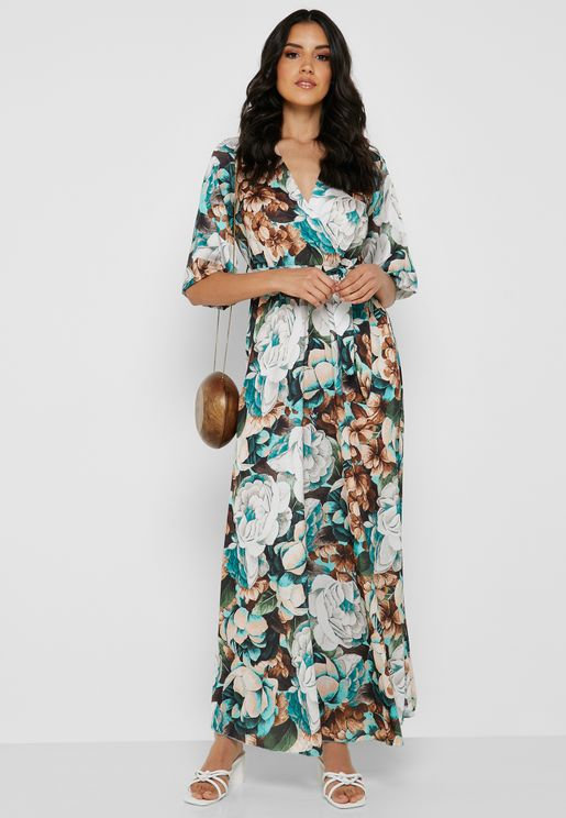 32f9418bfd66 Floral Print Wrap Front Maxi Dress