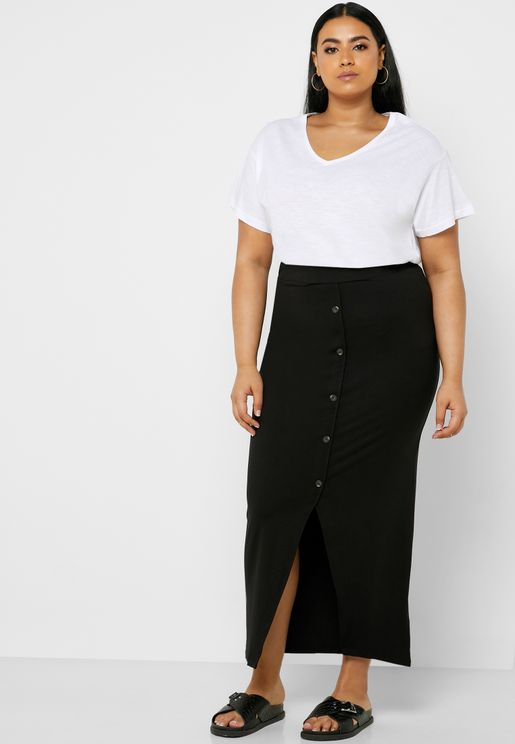 Button Through Tube Maxi Skirt