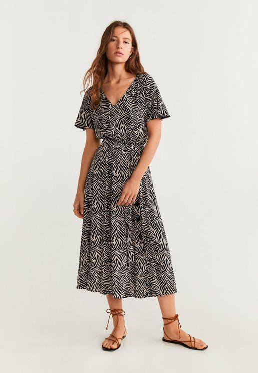 Tie Waist Printed Dress