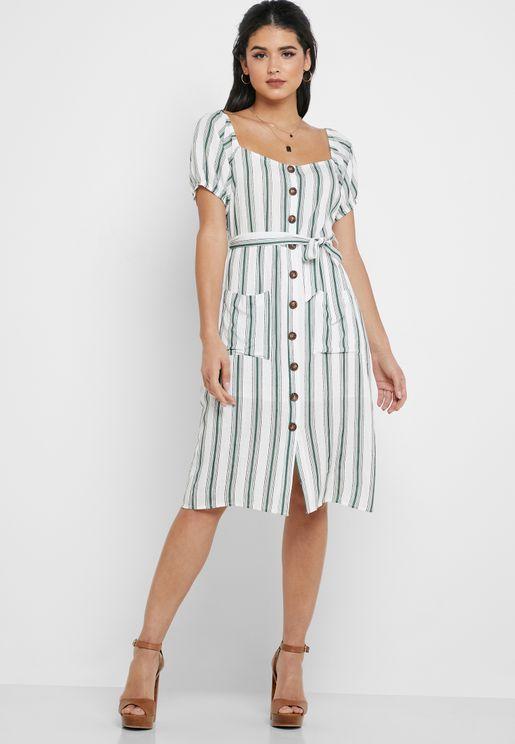 Tie Waist Front Slit Striped Dress