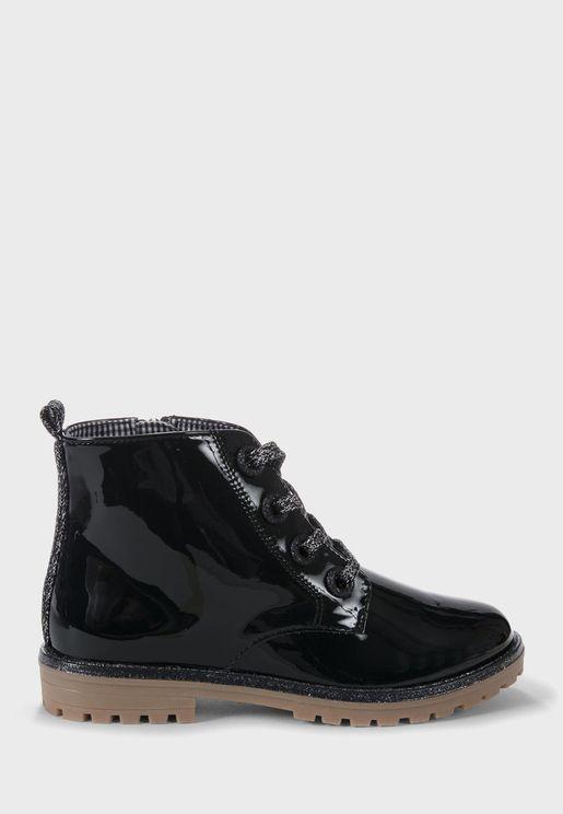 Kids Patent Boots