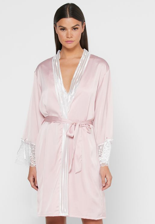 2 in 1 Lace Embroidered Nightdress Robe