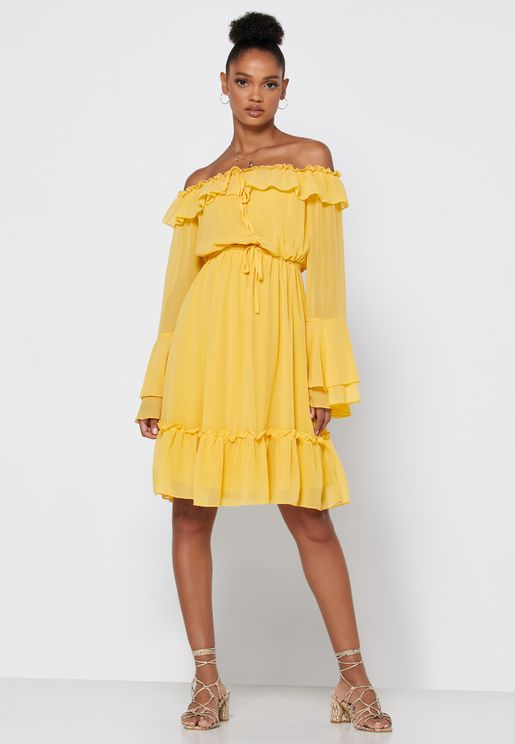 Ruffle Bardot Mini Dress
