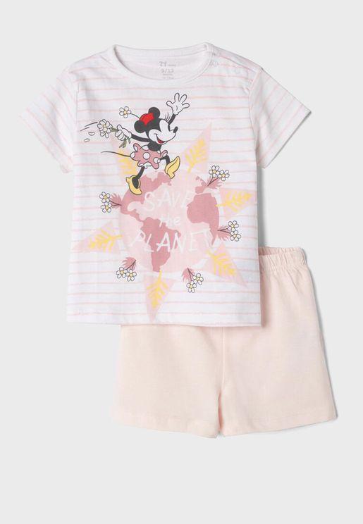 Infant  Graphic T-Shirt + Shorts Pyjama Set