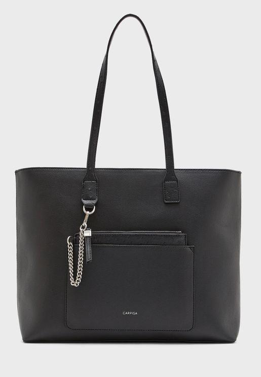 Front Zip Chain Detail Shopper