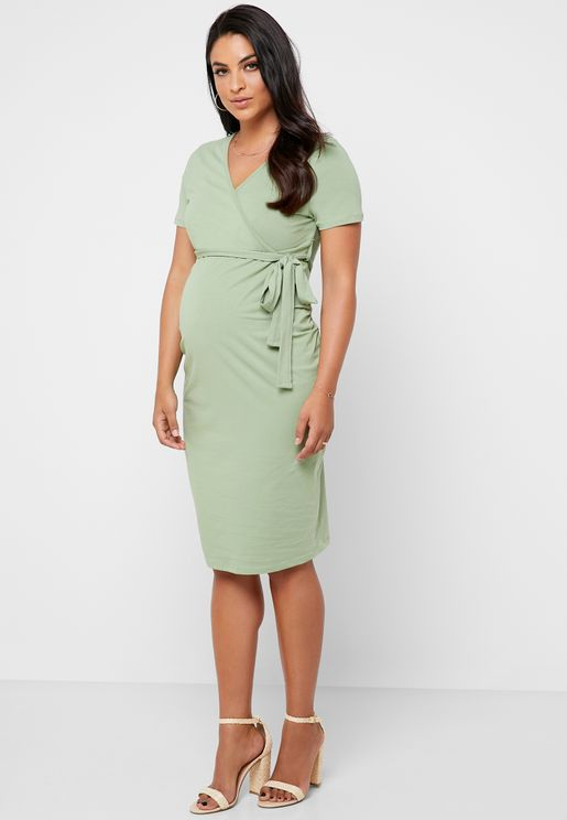 Ruch Detail Tie Waist Wrap Dress