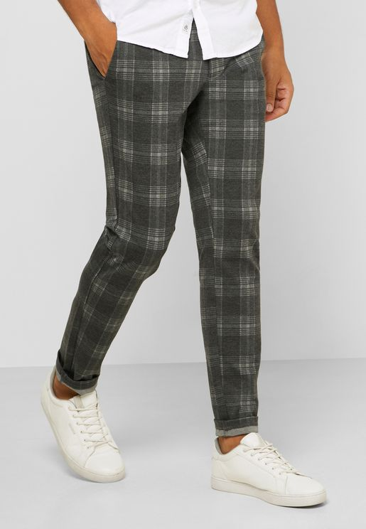 Mark Check Print Trousers