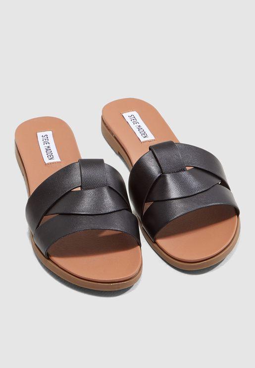 df5a49236bf Delaney Flat Sandal - Black. Steve Madden. Delaney Flat ...