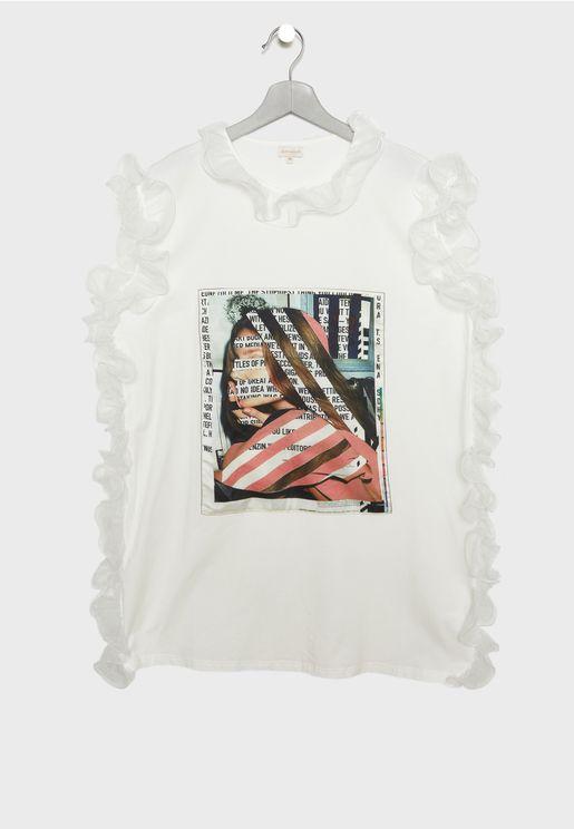Teen Ruffel Graphic Print Dress