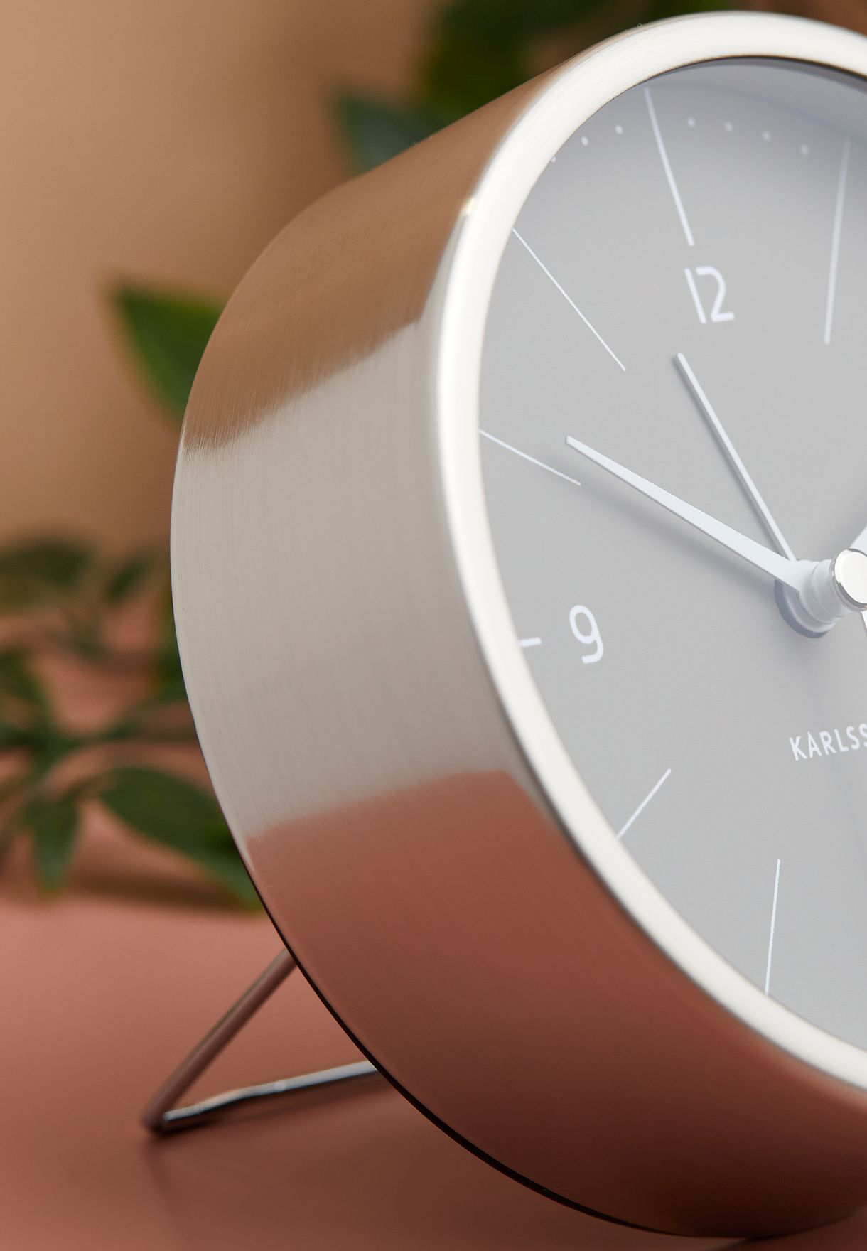 Normann Brushed Steel Alarm Clock