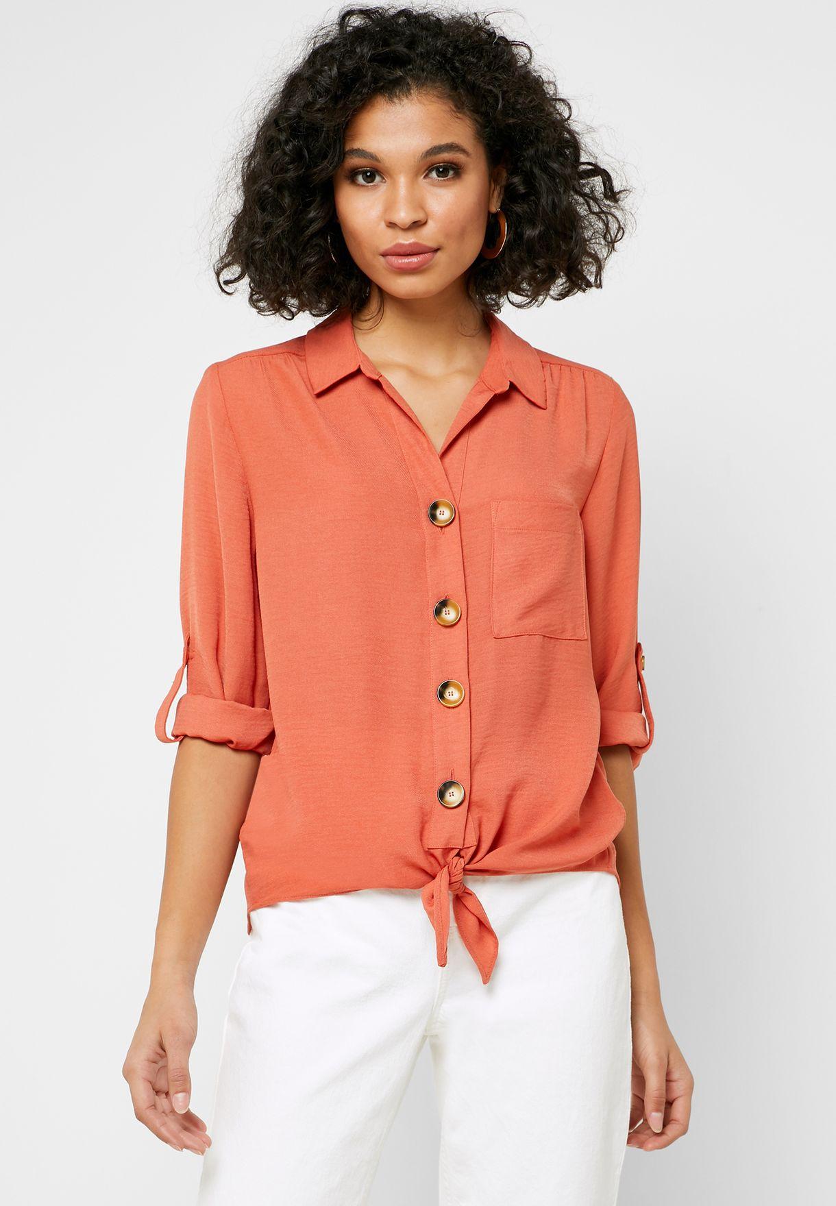 Button Detail Front Knot Shirt