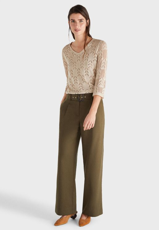 Belted Flared Pants