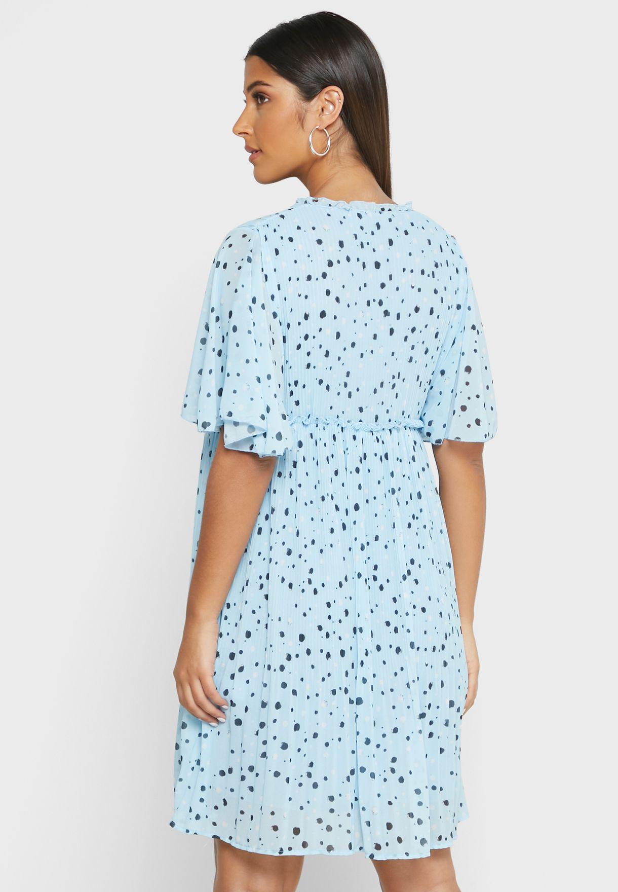 فستان ميني بطباعة نقاط