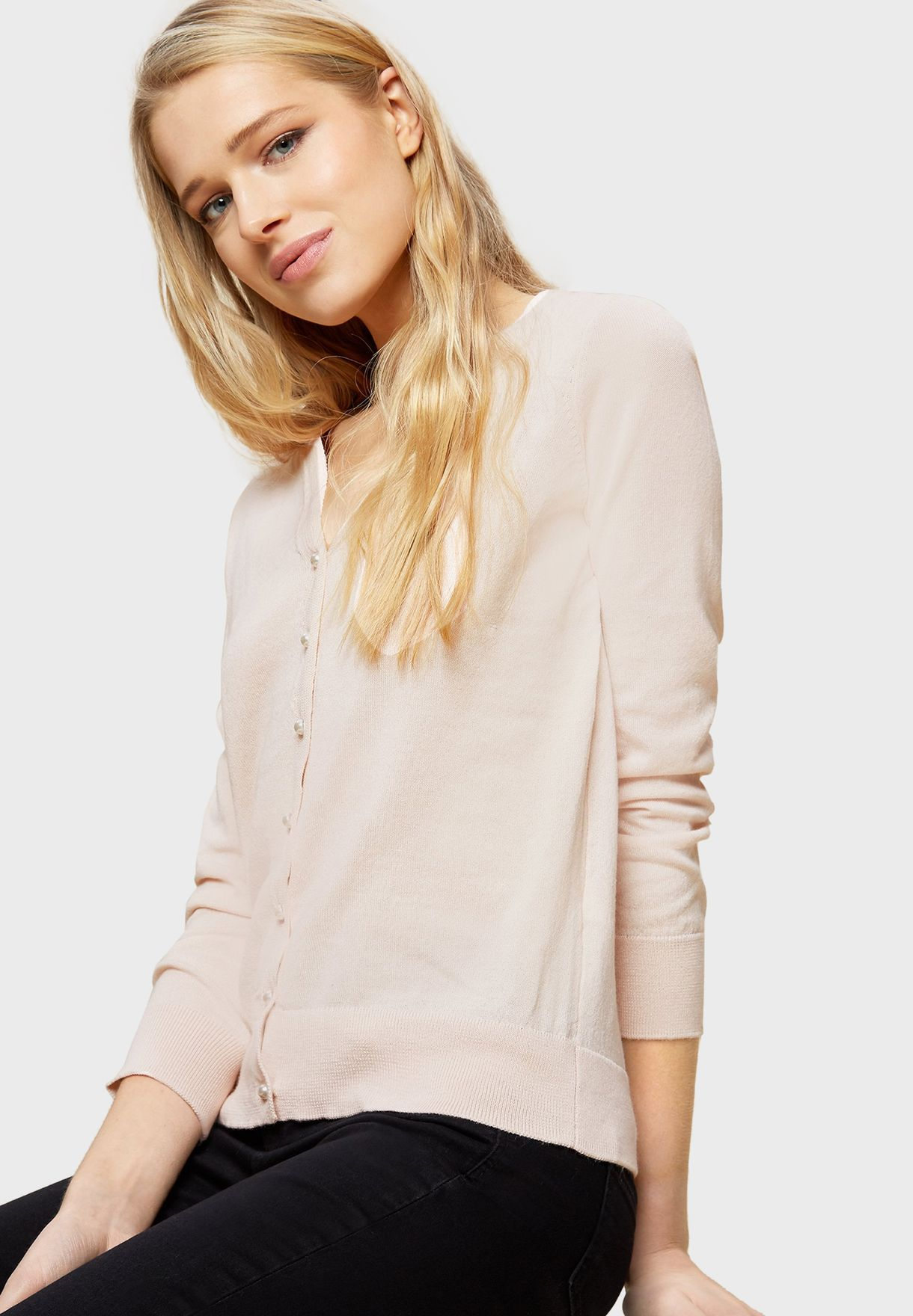 V-Neck Button Down Cardigan