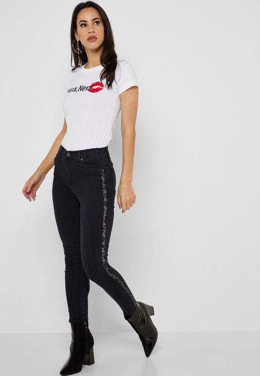 Contrast Side Paneled Skinny Jeans