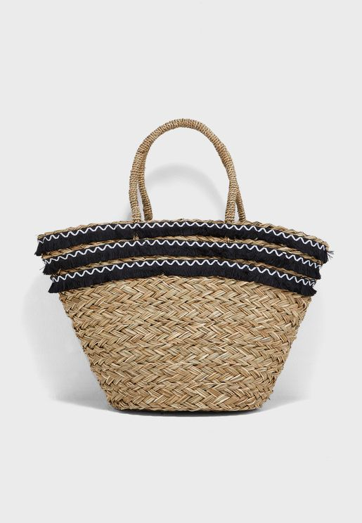 Fringe Trim Detail Basket Bag