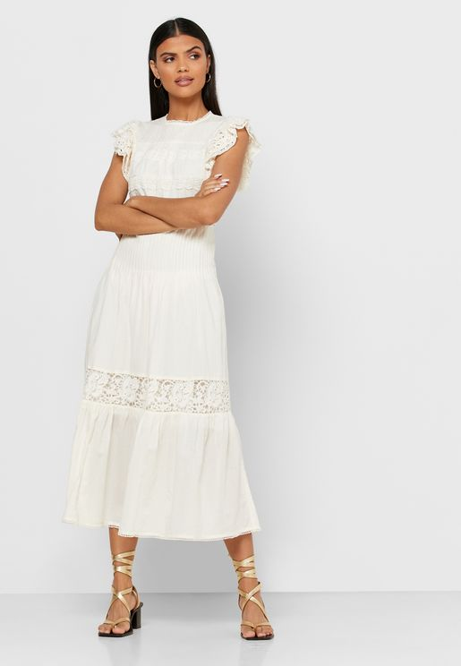 Ruffle Sleeve Lace Detail Dress