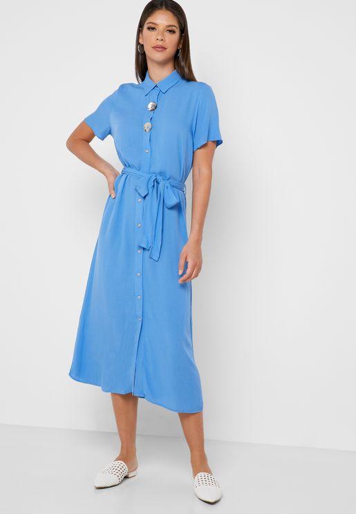 Metallic Button Shirt Dress