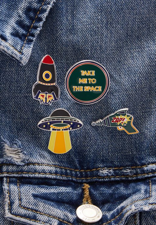 Kids 4 Pack Space Brooches