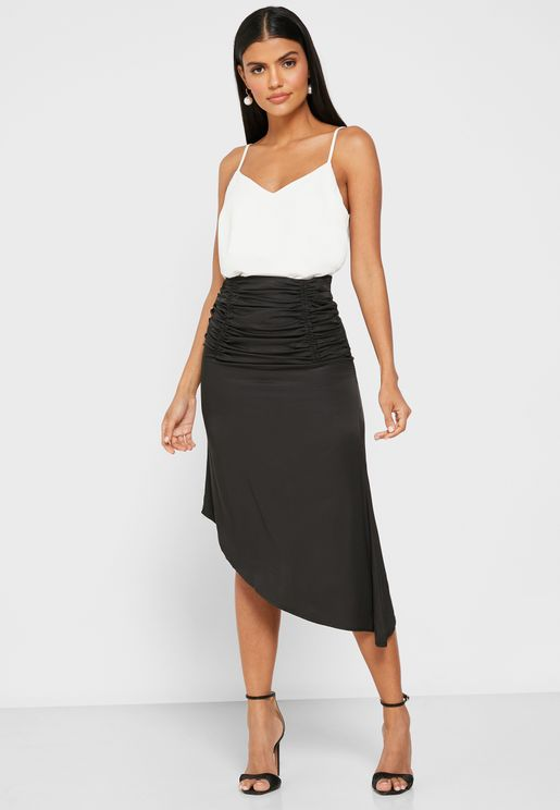 Ruched Asymmetrical Hem Midi Skirt