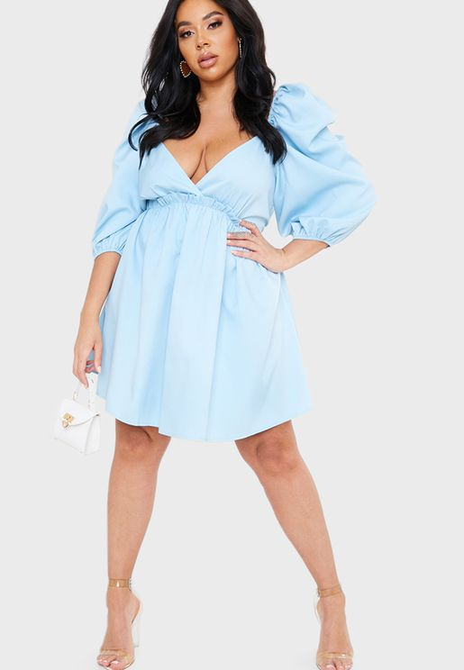 Exaggerated Puff Sleeve Dress