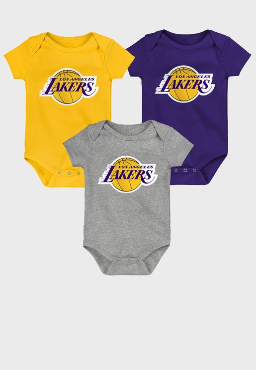 Infant 3 Pack Los Angeles Lakers Born To Win Bodysuit