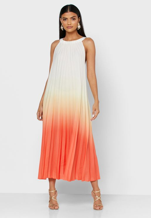 Round Neck Pleated Midi Dress