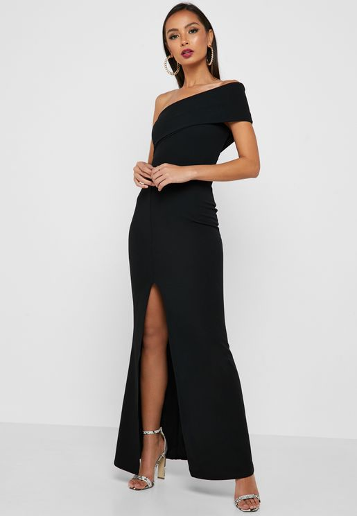 4a3ecda9db One Shoulder Front Split Dress. Missguided