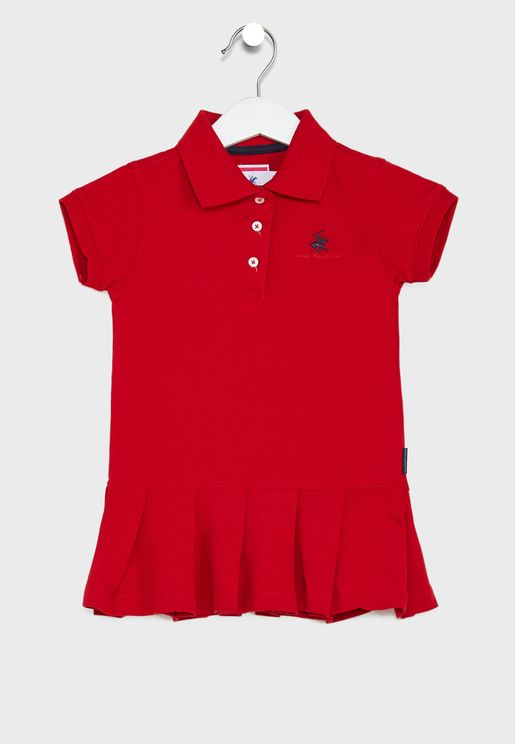 Little Pleated Hem Polo Dress