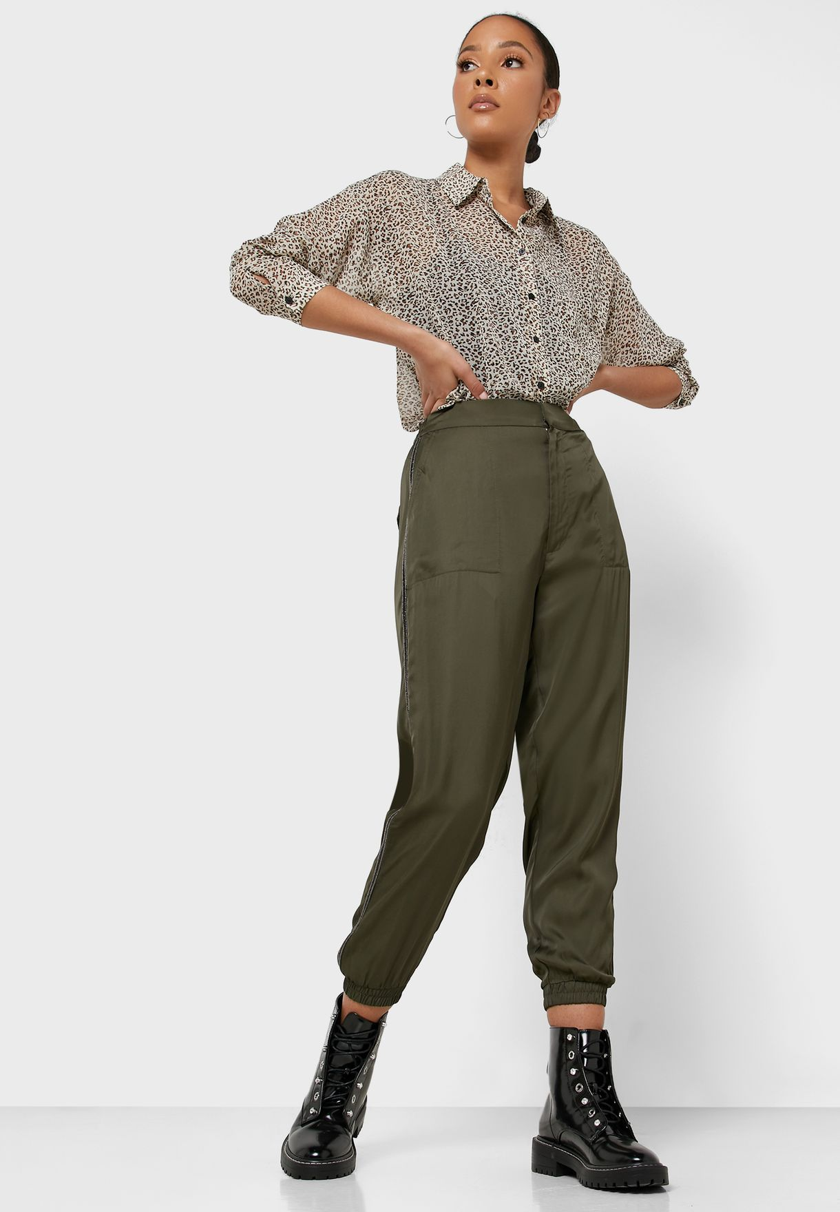 High Waist Cuffed Pants