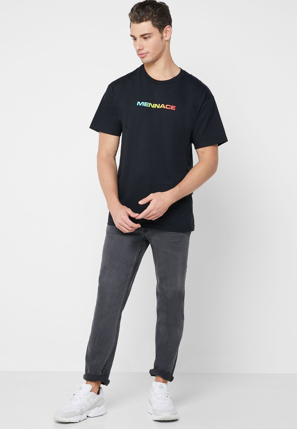 Rainbow Front And Back Crew Neck T-Shirt