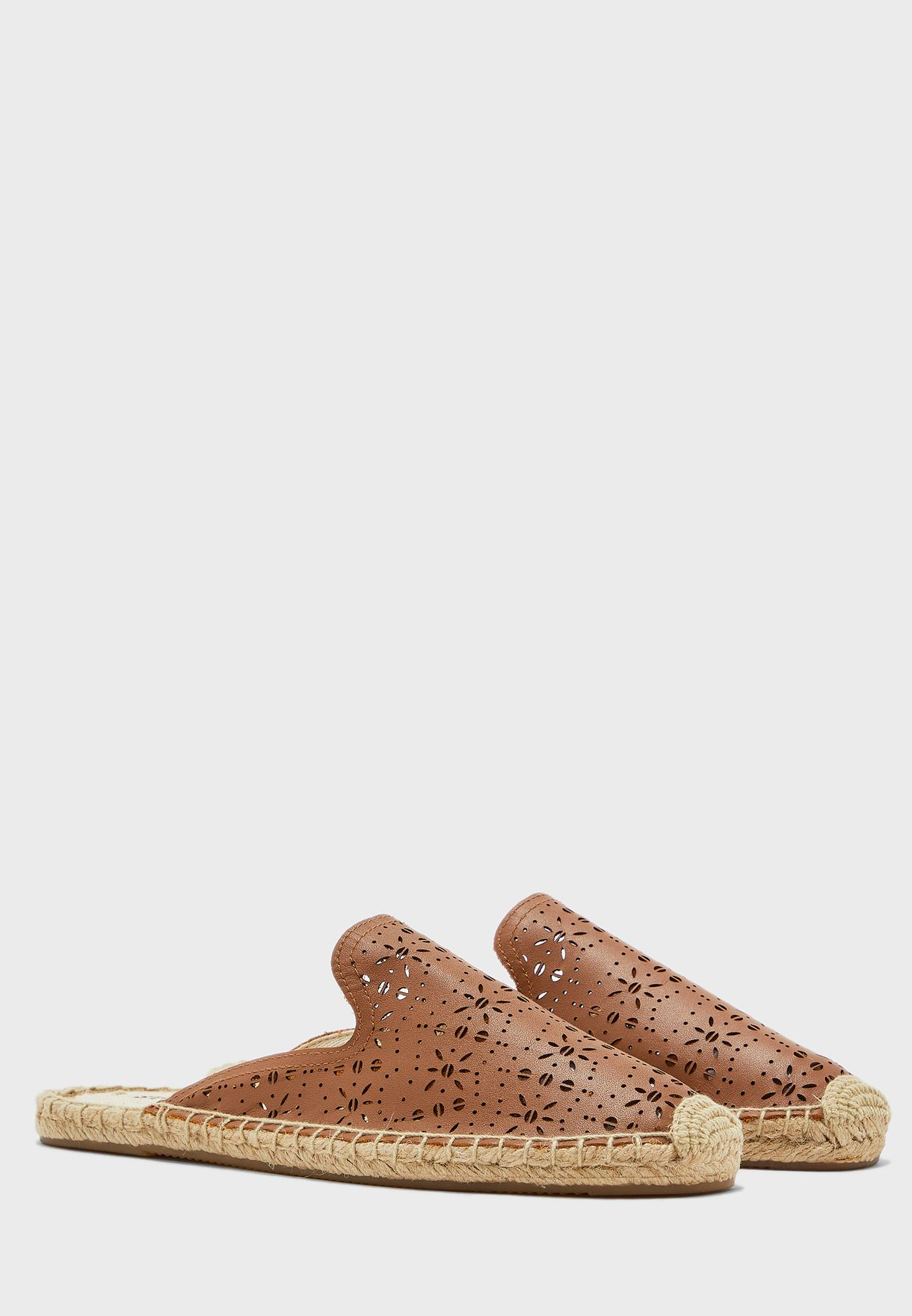 Ami Perforated Mule Slip On - Saddle