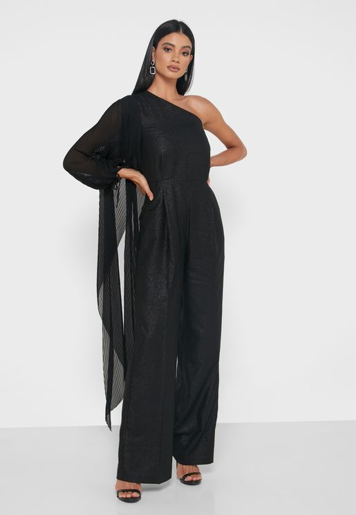 Balloon Sleeve One Shoulder Jumpsuit