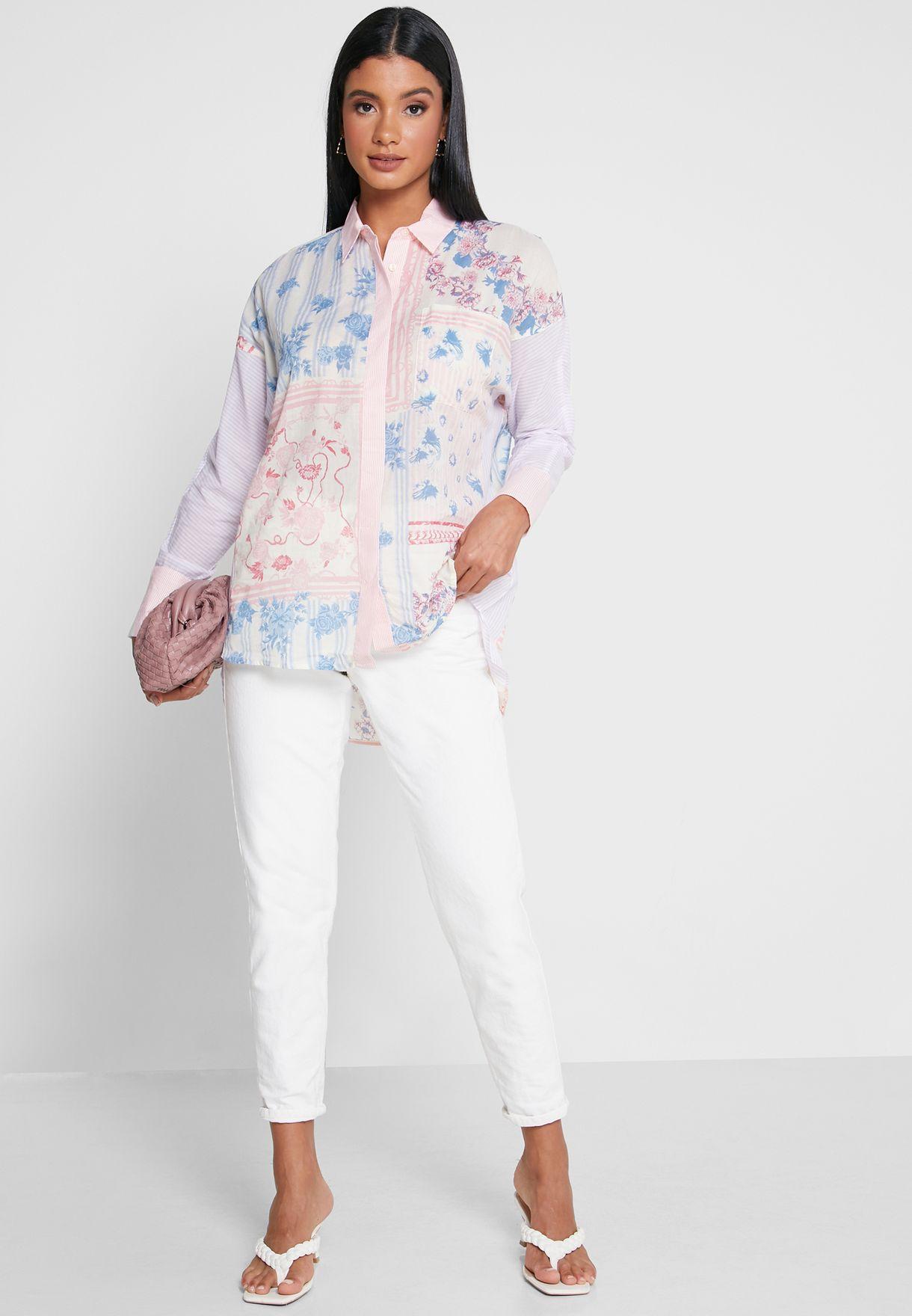 Martine Mixed Print Shirt